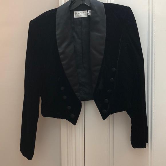 Oleg Cassini Jackets & Blazers - Black velour satin trimmed cropped jacket